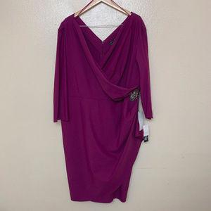 Alex Evenings Embellished Ruched Sheath Dress 24W